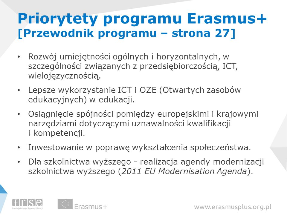 Priorytety programu Erasmus+ [Przewodnik programu – strona 27]